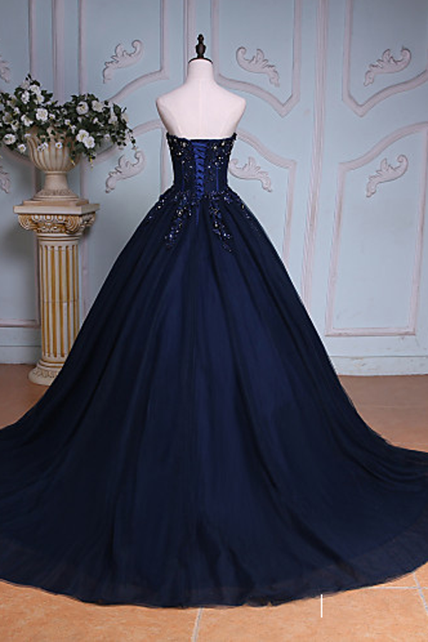 Sweetheart Navy Blue Prom Ball Gown with Applique(ED2141)