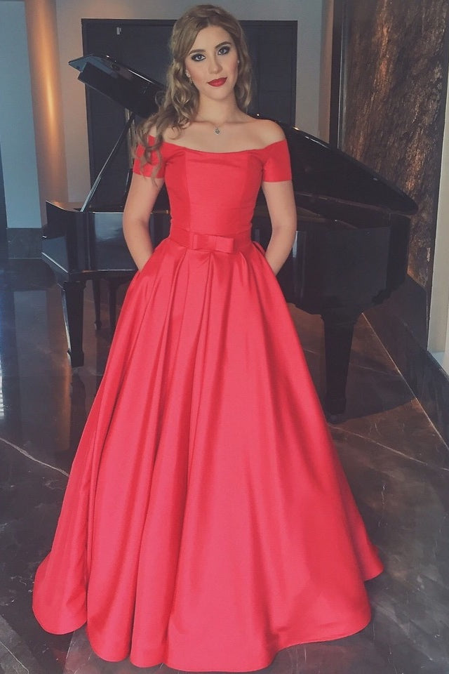 Red Off Shoulder Long Satin Prom Dresses with Short Sleeves-simibridal