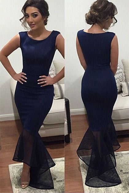 Navy Blue Round Neck Long Mermaid Prom Dresses-simibridal