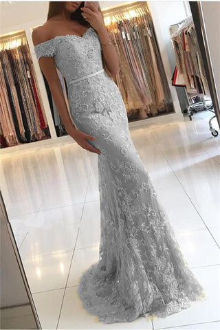 Light Grey Off Shoulder Lace Long Mermaid Prom Dresses-simibridal