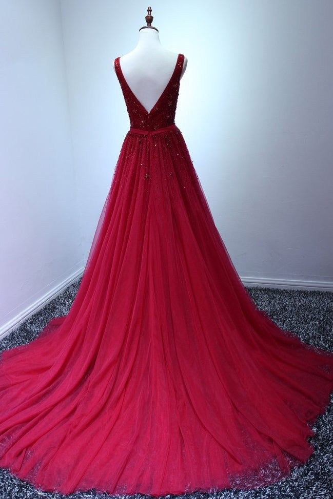 A Line V-neck Burgundy Tulle Prom Dresses with Sequins(ED2174)