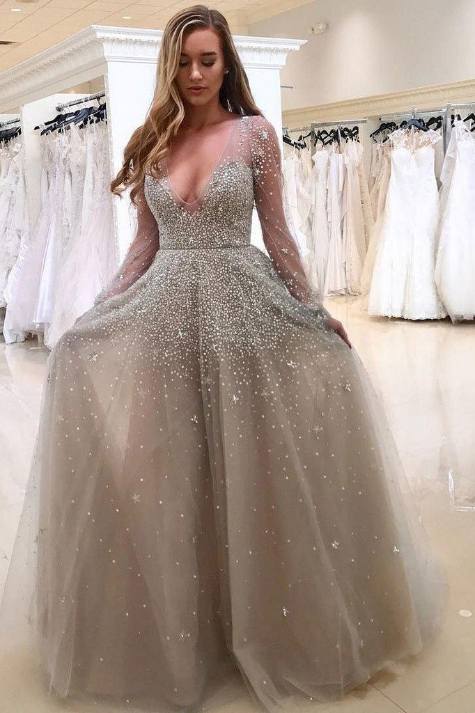 A line V-neck Long Tulle Prom Dresses with Long Sleeves-simibridal