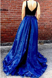 A Line Large V-neck Long Tulle Prom Dresses with Split-simibridal