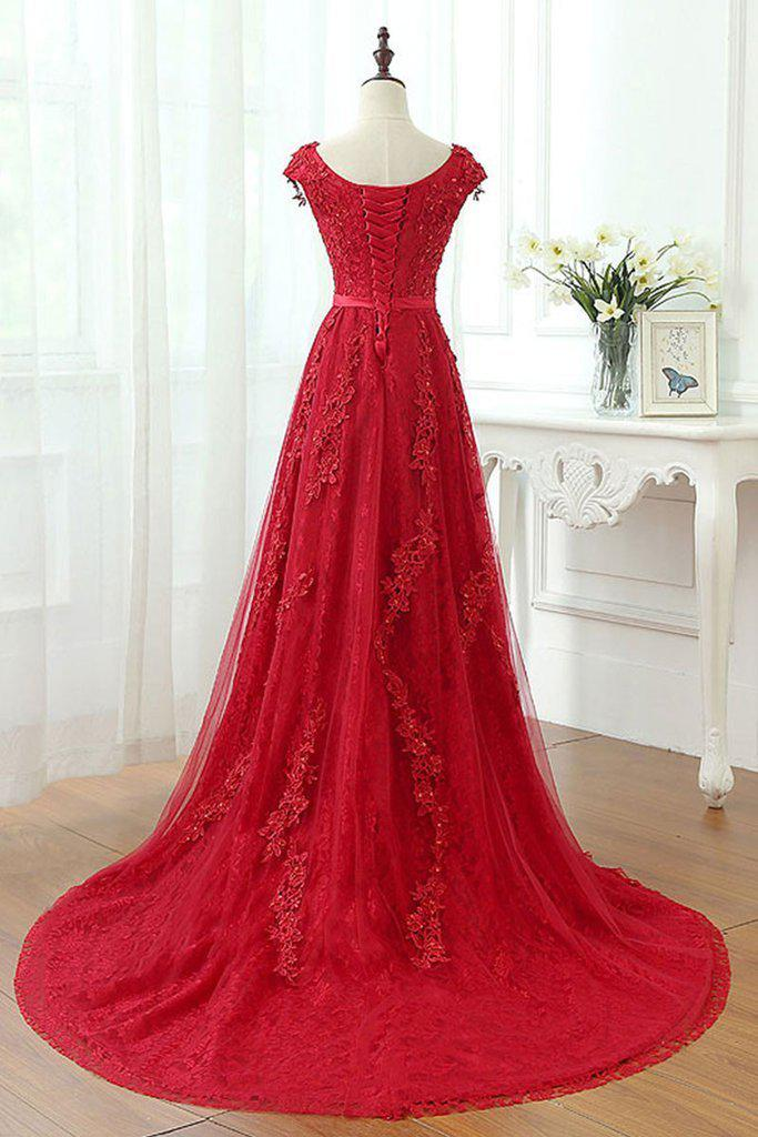A Line Red V-Neck Long Lace Prom Dresses with Cap Sleeves(ED2210)