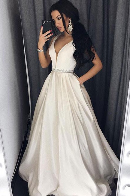 A Line V-neck Long Prom Dresses with Beading-SIMISPROM