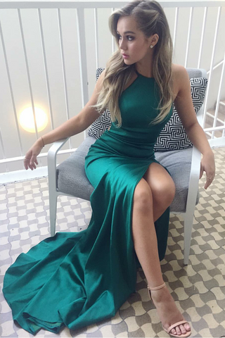 Green Halter Long Satin Prom Dresses with Split-simibridal