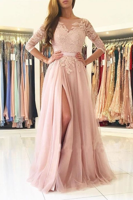 Pink Lace Long Tulle Split Prom Dresses with 3/4 Sleeves-simibridal