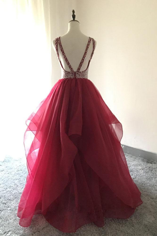 Round Neck Beading Bodice Long Prom Ball Gown(ED2318)