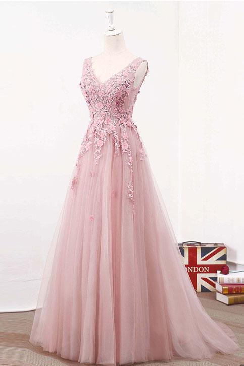 A Line V-neck Long Tulle Prom Dresses with Applique (ED2325)