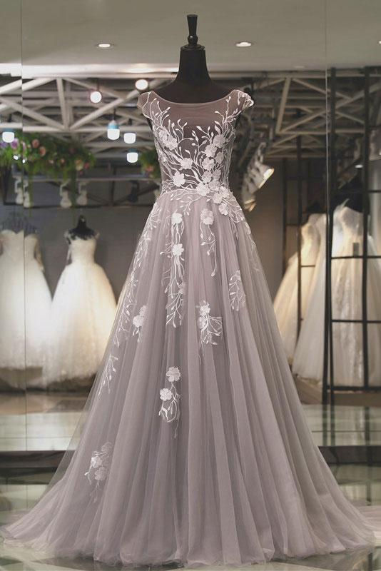 Grey Round Neck Long Tulle Prom Dresses with Applique(ED2345)