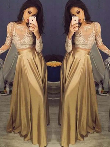 A Line Two Pieces Long Satin Prom Dress with Long Sleeves