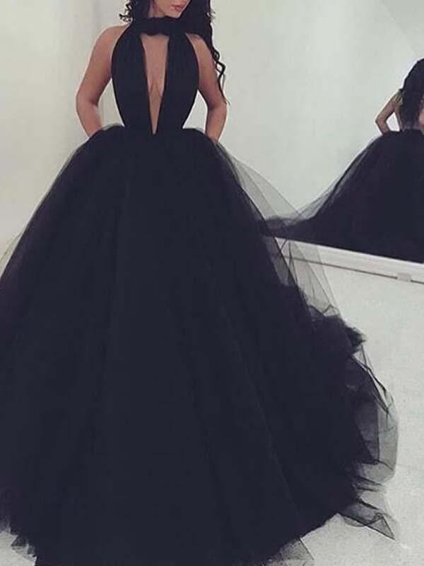 Black Tulle Prom Ball Gown with Large V-neck