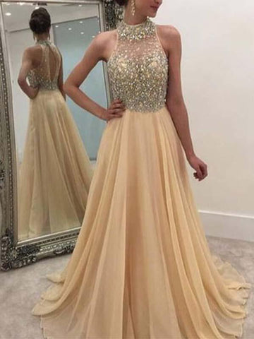 A Line Champagne Chiffon Prom Dress with Beading Bodice(LPD19040112)