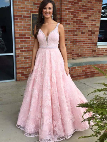 A Line Pink Lace Prom Dress with Beading Waist(LPD19040114)