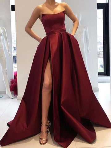 A Line Burgundy Satin Prom Dress with Split
