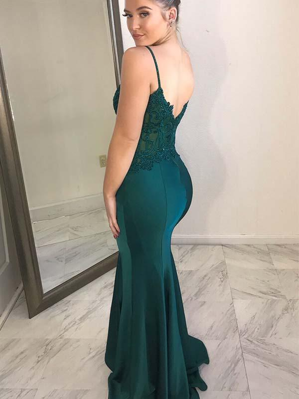 Dark Green Spaghetti Straps Mermaid Satin Prom Dress(LPD19041206)