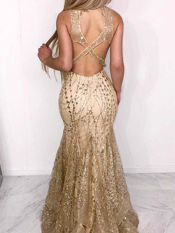 Champagne Long Mermaid Prom Dress with Gold Sequins