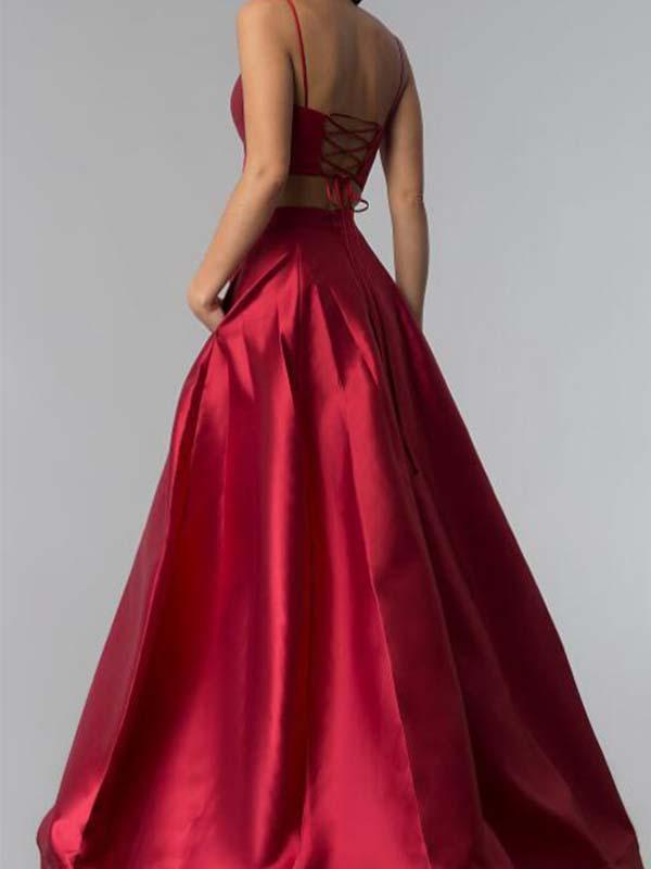 Two Pieces Burgundy Long Satin Prom Dress(LPD19041208)