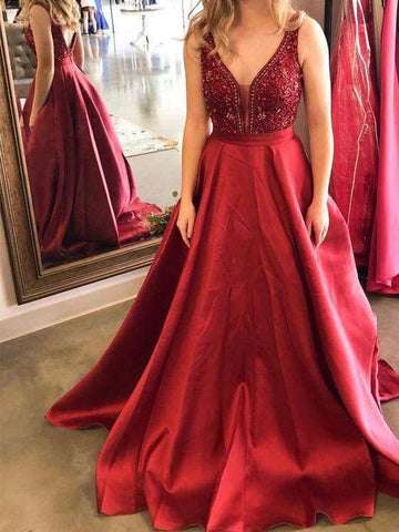 A Line Red Floor Length Satin Prom Dress with Beadings