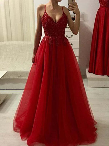 A Line Red Long Tulle Prom Dress with Applique(LPD19041210)