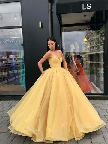 Yellow Sweetheart Floor Length Ball Gown(LPD19041213)