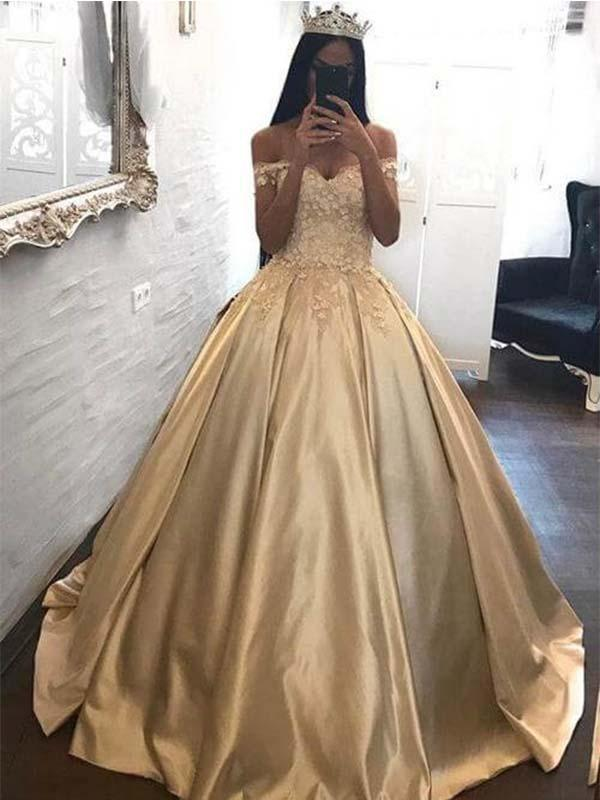 Off Shoulder Champagne Prom Ball Gown with Applique