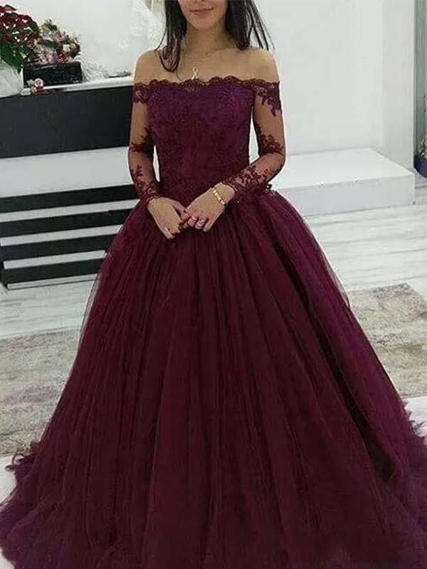 A Line Dark Burgundy Off Shoulder Prom Ball Gown