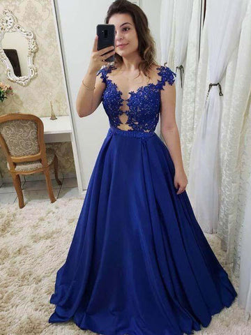 A Line Royal Blue Long Satin Prom Dress with Lace