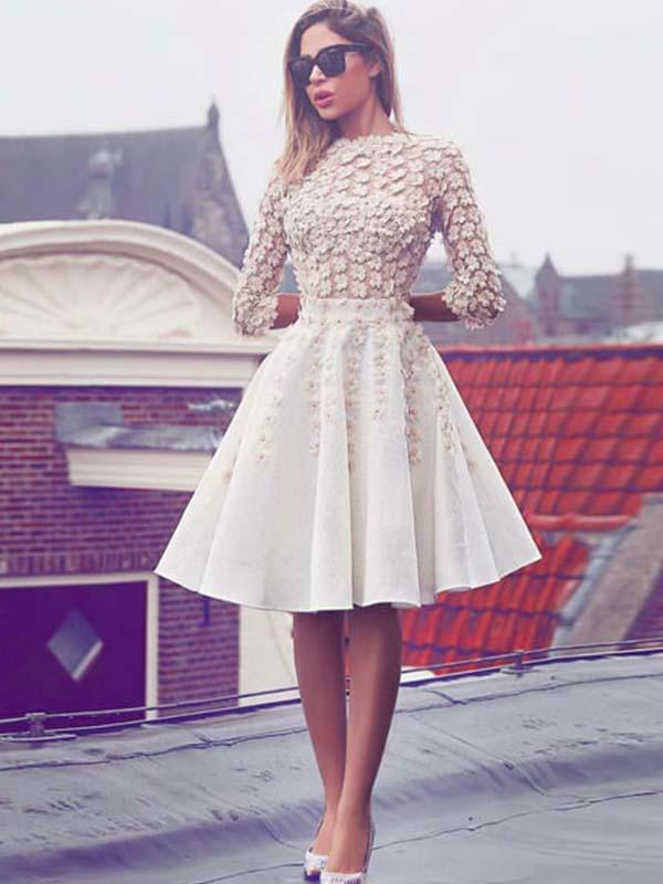 Vintage 3/4 Sleeves Homecoming Dress with Flowers