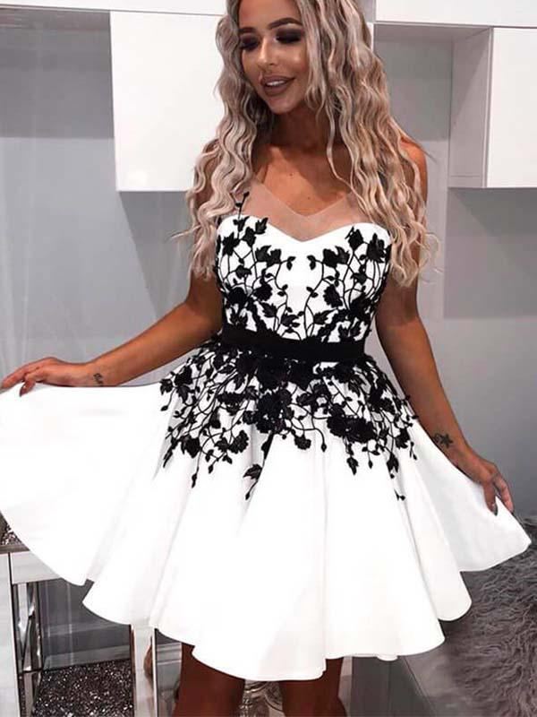 V-neck White Satin Homecoming Dress with Black Lace(SHD19040107)