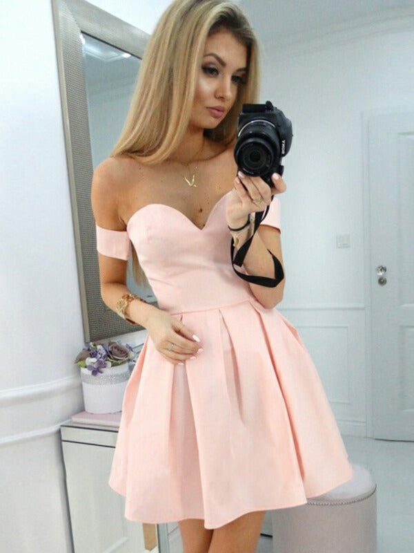 Pink Off Shoulder Satin Homecoming Dress