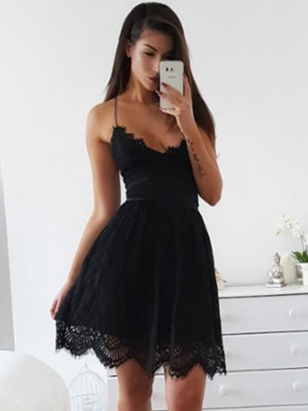 Spaghetti Straps Black Lace Homecoming Dress