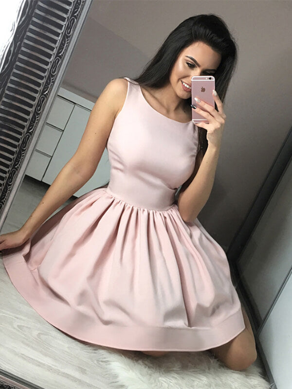 Simple Pink Short Satin Homecoming Dress