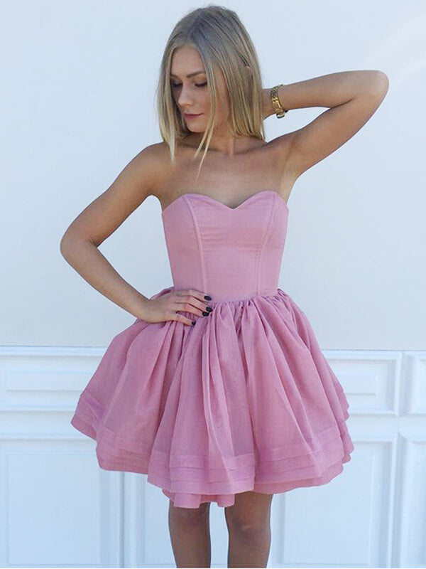 Sweetheart Short Satin Homecoming Dress with Layers