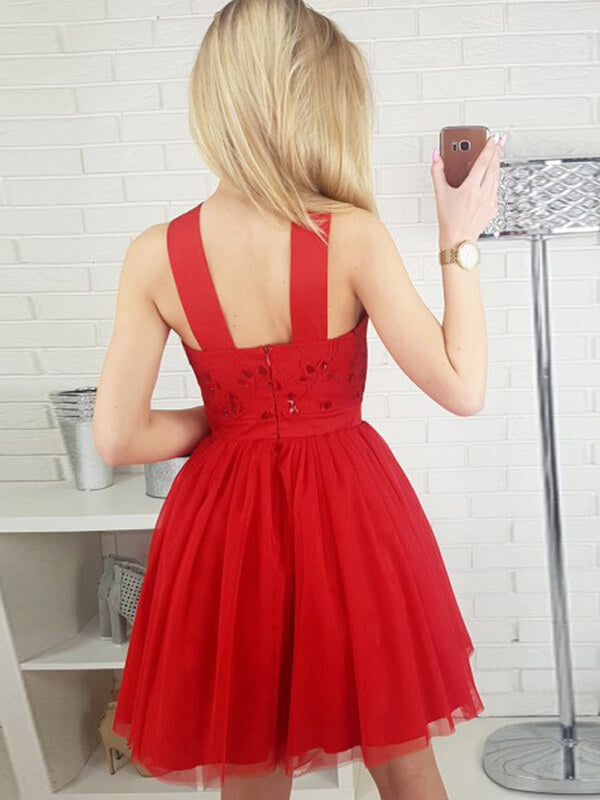 Halter Red Short Tulle Homecoming Dress with Sequins