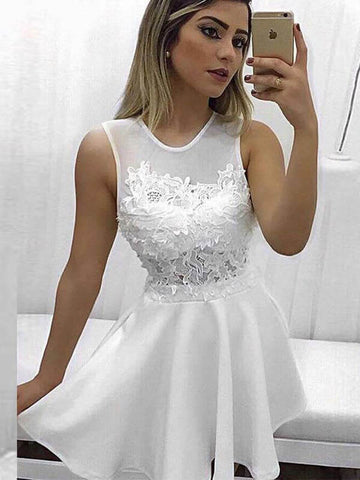 Cute White Short Satin Homecoming Dress with Lace