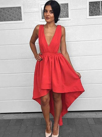 V-neck High Low Satin Homecoming Dress
