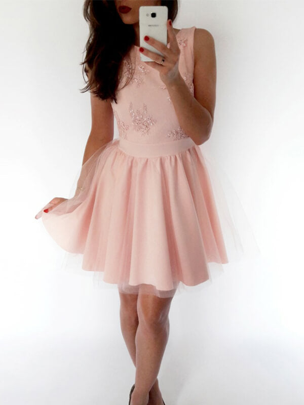 A Line Pink Homecoming Dress with Appliques