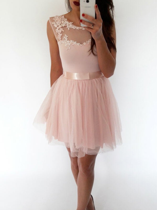 Pink Short Tulle Homecoming Dress with Ribbons