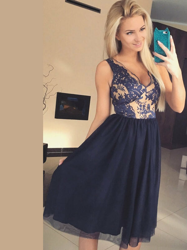 Navy Blue Knee Length Homecoming Dress with Lace