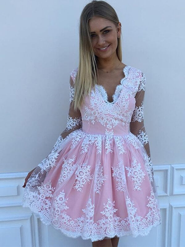 Pink Lace Homecoming Dress with Long Sleeves