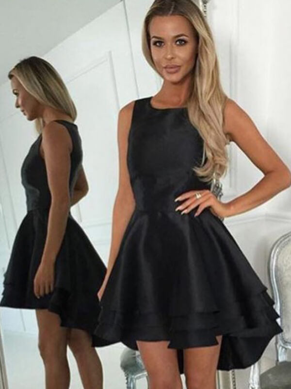 Black High Low Homecoming Dresses with Layers