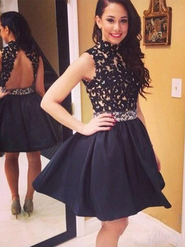 Black Open Back Homecoming Dress with Lace