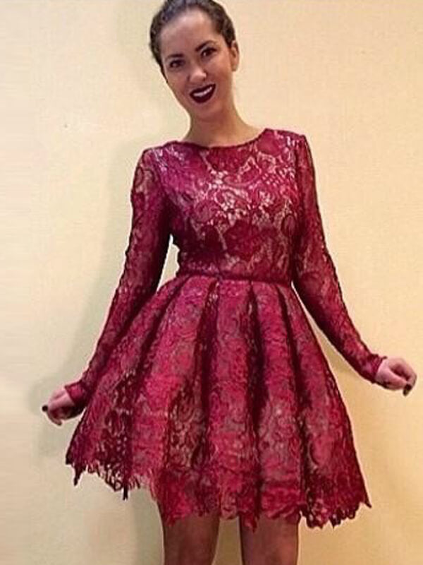 Burgundy Knee Length Lace Homecoming Dress(SHD190539)