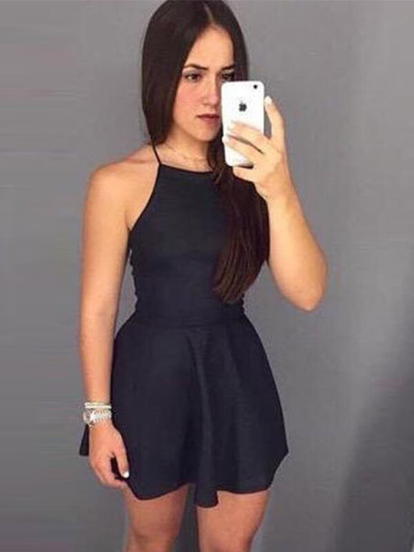 Halter Black Mini Satin Homecoming Dress