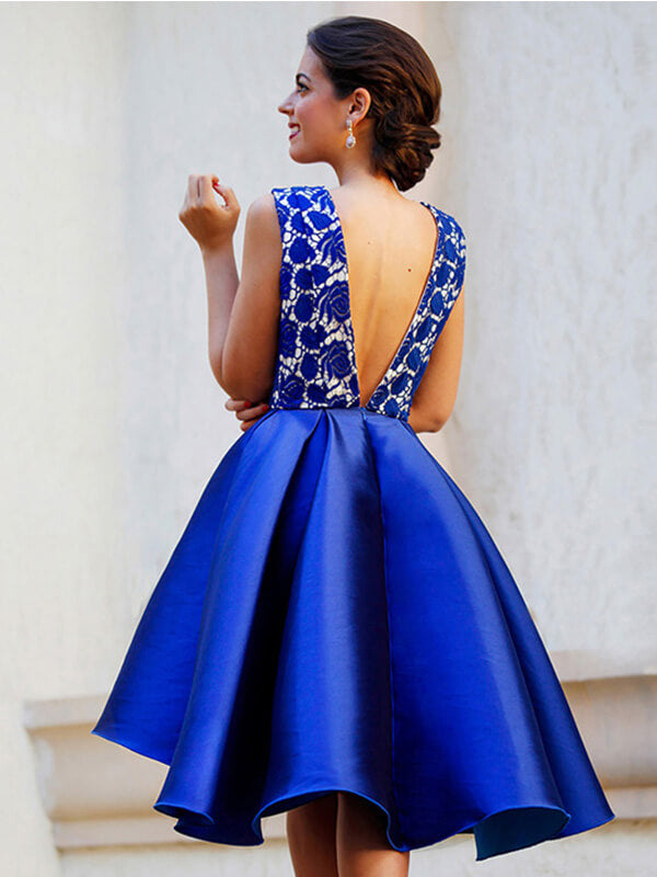 V-neck Royal Blue Homecoming Dress with Lace