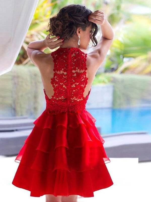 Red Halter Short Homecoming Dress with Layers