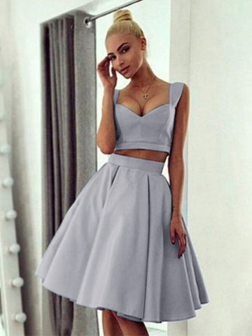 Two Pieces Grey Knee Length Homecoming Dress