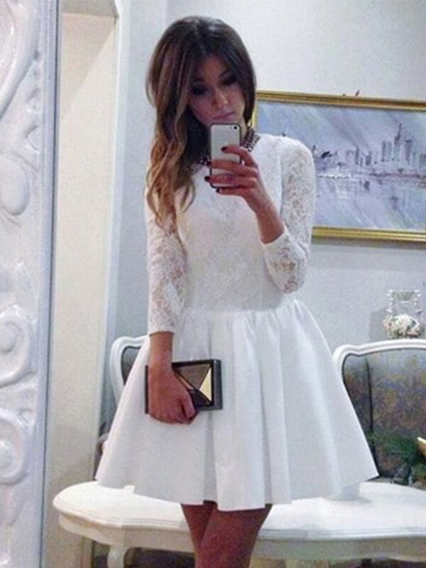 White Lace Bodice Homecoming Dress with Long Sleeves