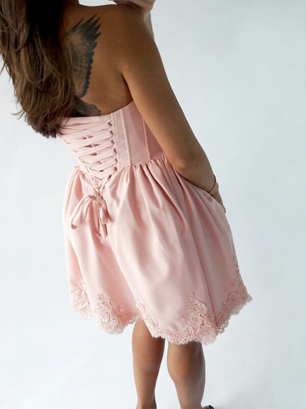 Pink Sweetheart Short Homecoming Dress with Lace